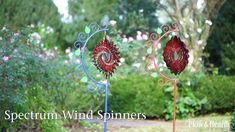 Metal Spectrum Wind Spinner with Decorative Stand adds a splash of color to your yard, along with . Tin Can Crafts, Metal Crafts, Aluminum Crafts, Kinetic Wind Spinners, Wind Sculptures, Laser Cut Metal, Metal Garden Art, Kinetic Art, Scrap Metal Art
