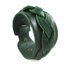 Bangle leather bracelet women bracelet men bracelet made of green leather woven wrist bracelet SH-1973. $8.00, via Etsy.