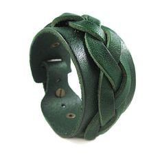 Bangle leather bracelet women bracelet men bracelet made of green leather woven wrist bracelet SH-1973. $8.00, via Etsy.