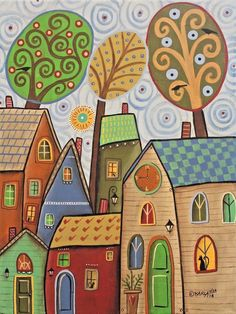 9 AM 12x16 ORIGINAL CANVAS PAINTING cat houses FOLK ART ABSTRACT Karla Gerard #FolkArtAbstractPrimitive