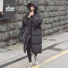 38.63$  Buy here - http://ali4no.worldwells.pw/go.php?t=32770478332 - 2017 Black Big Plus Size Korea Fashion Female Outwear Thick Warm Parka Oversize Fur Duck Down Winter Coat Women Retro With Hood