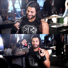 """Roman Reigns behind the scenes of Mattel's Create a WWE Superstar commercial…"