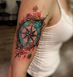 Watercolo compass sleeve tattoo - 100 Awesome Compass Tattoo Designs <3 <3