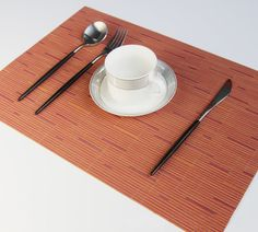 YO FUN PVC Place Mats Heat Proof Washable Dinner Anti-Skid Weave Placemats Japenese Insulated Table Mats for Dining Table Set of Coffee Table Party, Dinner Table, Dining Table Placemats, Kitchen Decor, Weaving, Orange, Decoration, Holiday Decor, Top