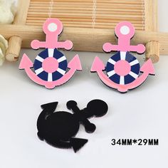 50pcs/lot Cute Pink Color Anchor Flatback Resin For Hair Bow Black Planar Resin DIY Craft For Home Decoration Accessories DL-693