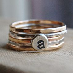 14K Gold Fill and Recycled Sterling Silver Stacking Rings - Monogrammed - Set of 5