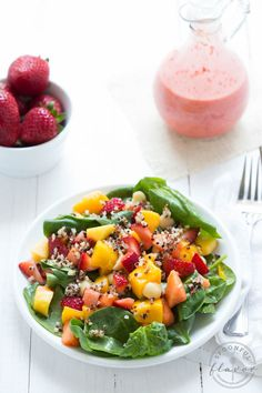 Strawberry Tropical Fruit Salad with Strawberry-Ginger Dressing is a colorful, flavorful and delicious salad!