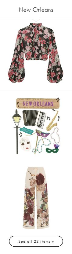 """New Orleans"" by starrybell ❤ liked on Polyvore featuring tops, blouses, crop top, sheer sleeve blouse, transparent blouse, see through blouse, floral print blouse, pants, bottoms and trousers"