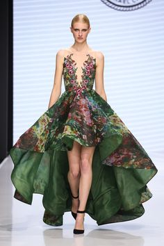Floral print strapless gown for Michael Cinco Fall 2016 Haute Couture