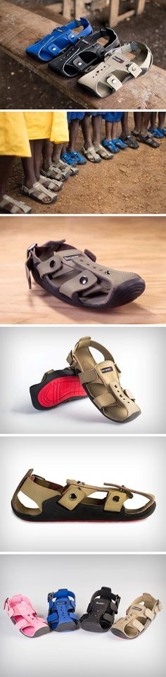 The Shoe That Grows, a low-cost-high-lifetime shoe that expands up to five sizes and lasts for over five years, for underprivileged children around the world. The Shoe That Grows combats the unfortunate scenario where children outgrow their footwear by being the one pair of footwear that grows with them. Extending at the front, sides, and the back, the sandals work simply like a belt would… expanding with size and necessity. BUY NOW!