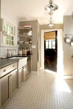 kitchens - painted cabinets subway tile Haskell Harris farmhouse sink  Haskell Harris kitchen  taupe kitchen cabinets, black countertops, farmhouse
