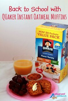 Back to School with Quaker Oatmeal Muffins, . Back to School with Quaker Oatmeal Muffins, Apple Oatmeal Muffins, Oatmeal Flavors, Quaker Instant Oatmeal, Oatmeal Packets, Instant Recipes, Instant Oatmeal Recipes, Thing 1, Breakfast Recipes, Breakfast