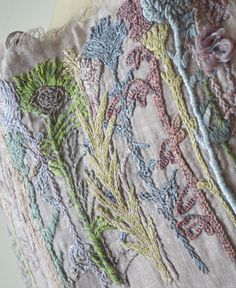 Sophie Digard  hand embroidery linen scarf