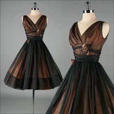Vintage 1950s Dress . Black and Bronze . 3008 by millstreetvintage
