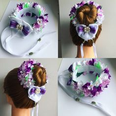 Kanzashi Flowers, Felt Flowers, Bun Wrap, Hair Brooch, Ribbon Work, Felt Fabric, Top Knot, Bun Hairstyles, Flower Crown