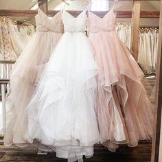 Blush Pink Champagne White Spaghetti Straps V Neck Tulle Wedding Ball Gown Dresses,JD 125 - Thumbnail 1