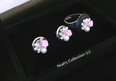 Silver Plated Round Studs Earrings Array Of Coloured Cluster Crystals Crystal Clay Pink Flower Pearl Diamante Rhinestone Niahscollection by NiahsCollection on Etsy