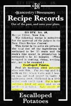 Ancestry's Recipe Records are a wonderful way to try out historical dishes and see what sticks—but never to the pan. Head over to the Ancestry® blog to read more about this delicious dish—complete with ingredient lists—and other recipes from Ancestry's Newspapers.com. Old Recipes, Vintage Recipes, Other Recipes, Side Dish Recipes, Cooking Recipes, Side Dishes, Retro Recipes, Yummy Recipes, Free Recipes