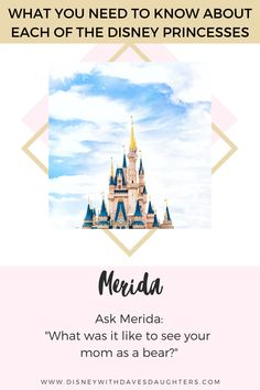 Disney Princesses - All their names, what to ask them when you meet them at Disney World and more! If you are planning a disney vacation with your little girl this is a must read Disney With Dave's Daughters Disney Princess Names, Disney Princess Merida, Rapunzel, Moana Disney, Aurora Disney, Official Disney Princesses, Punk Disney Princesses, Disney Fun Facts, Disney Renaissance