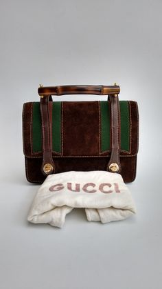 4a0bd451b2b9 GUCCI Bag. Gucci Bamboo Vintage Brown Suede and Leather Bag. Italian  designer purse