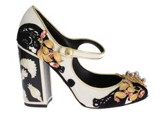 Dolce & Gabbana  Mary Janes Velvet Crystal Pearls Shoes