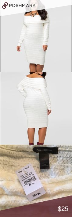 Plus size Ashley Stewart ivory sweater dress This gorgeous roomie ivory sweater dress can be worn off the shoulders as a dress or pulled up as a baggy sweater over leggings brand-new with tags. Size 26 a must-have for any curvy fashionista Ashley Stewart Sweaters