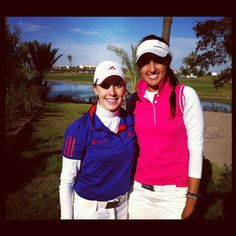 Paula Hurtado wearing our white compression and pink polo combination at Tour School 2012, gaining her card :)