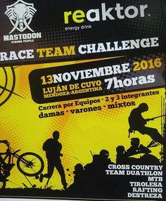 RACE Team Challenge LA COMPETENCIA:  En uno de los lugares más lindos, más pintorescos y cuna de los deportes de Aventura, en el Departamento de Lujan, en la Provincia ... http://sientemendoza.com/event/race-team-challenge/
