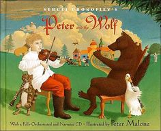PETER AND THE WOLF by Sergei Prokofiev is my favorite children's composition. The CD with the musical composition and narrated story comes with this copy of the book. Check out our fun activities to do with kids while playing the composition and looking at the book. Kids of all ages love this timeless classic.