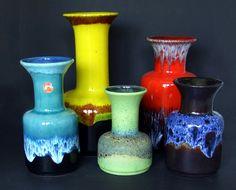 "some Jasba ""trumpet"" vases"