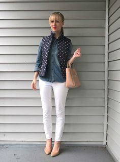 white jeans, polka dot puffer vest, double denim, Madewell chambray, nude pumps
