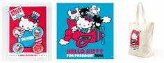 Hello Kitty announces her candidacy for President with some cool swag!   Move over presidential candidates! Theres a new politician in town and her name is Hello Kitty! Leading the Friendship Party Hello Kitty is throwing her bid for president this coming October with a message of friendship fun and happiness.  The Hello Kitty for President campaign will kick off with some exclusive cute merchandise for all ages at select Sanrio stores as well as Sanrio.com  including unisex t-shirts Hello…