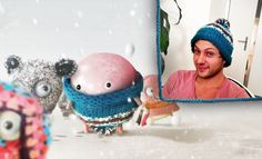 Dino Stitch who feels snug as a bug in a rug with his new cozy sweater!