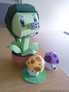 So cute! Plants vs Zombies paper gatling pea & 'shrooms