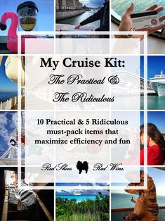 My Cruise Kit: The Practical & The Ridiculous (10 Practical & 5 Ridiculous must-pack items that maximize efficiency and fun). For your first or twentieth cruise to the Mediterranean, Alaskan, Baltic, British Isles, Caribbean, Bahamas, Atlantic Cruises on Carnival, Disney, Norwegian, Royal Caribbean, MSC, and Princess #Cruise Lines! Bon Voyage! #cruisetips #cruisehacks #traveltips
