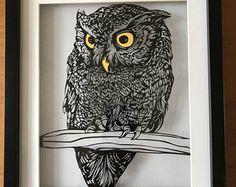 Handmade Owl Paper Cut/ Owls/ Owl Art/ Owl Paper Cut/ Paper Cut Artwork/ Birthday Gift/ Christmas Gift/ Wedding Gift/ Paper Cut Art/ Handcut Paper Owls, Paper Art, Cut Paper, Paper Cutting, Fuchs Silhouette, Dyi Crafts, Bird Patterns, Owl Art, Kirigami