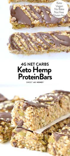 Keto granola bars – no bake hemp seed bars – Sweetashoney Keto granola bars – no bake hemp seed bars – Sweetashoney Protein Snacks, No Bake Protein Bars, Vegan Protein Bars, Keto Bars, Protein Bar Recipes, Protein Cake, Protein Powder Recipes, Protein Muffins, Protein Cookies