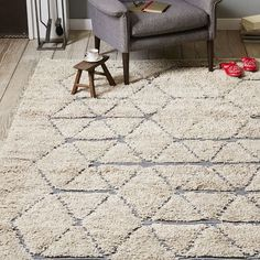 Carla Peters Geo Line Wool Shag Rug, 9'x12', Neutral - West Elm :: $699 (on sale)