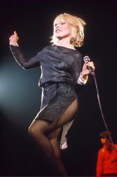 "Thigh-high split: Debbie in 1980 Photograph: Richard Young/Rex Features (via The Guardian ""Debbie Harry at 70 – in pictures"")"