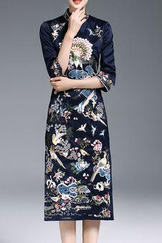 Eladybaby Purplish Blue Mandarin Collar Embroidered Midi Dress   Midi Dresses at DEZZAL