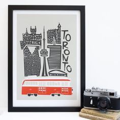 A bold and fun Toronto, Canada print.  A vibrant and multicultural city, Toronto is buzzing with life and excitement. This cityscape print