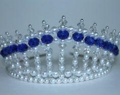 Azul de Safire cristal Perla y cristal AB Princesa Tiara Diva Tiara Tiara de cumpleaños