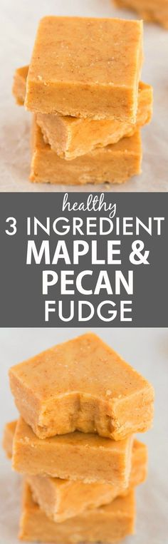 Healthy 3 Ingredient Maple Pecan Fudge (V, GF, Paleo)- Smooth, creamy and melt-in-your mouth fudge which takes minutes and has NO dairy, refined sugar or butter but you'd never tell- A delicious snack or dessert! {vegan, gluten free, paleo recipe}- http://thebigmansworld.com