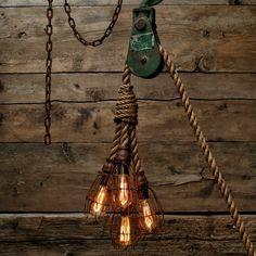 Pulley Light - Barn wood Pendant Light -Manila Rope Light - rustic Chandelier - Industrial Lighting - Vintage lighting Log Cabin