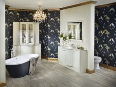 Fabulous high impact bathroom featuring Clotted Cream painted finish from the Roseberry range and sensuelle freestanding bath Mirror Wall Tiles, Wall And Floor Tiles, Timber Furniture, Modular Furniture, Bathroom Colors, Small Bathroom, Blue Bathroom Furniture, Dark Blue Bathrooms, Bathroom Styling