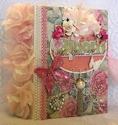 """MOMz~Cindy A~""""BLOOM Where You're Planted"""" shabby vintage premade scrapbook album"""