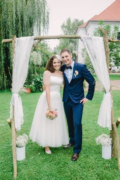 Kati at her vintage wedding in a custom made lace wedding dress