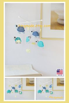 Baby Crib Mobile, Baby Mobile, Baby Cot Mobile, Sea Turtles Mobile, Turquoise and Yellow Nursery, Cadet Blue Emerald Yellow