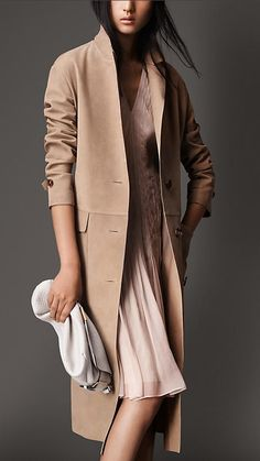 Burberry London Honey Suede Trench Coat - A trench coat in soft suede. Dropped shoulders complement the straight fit design. Discover the women's outerwear collection at Burberry.com