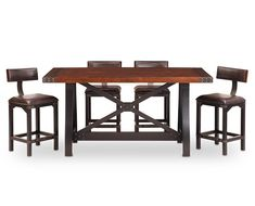 Counter Height Tables-Foundry 5 Pc Counter Height Barstool Group-Rustic, warm, and durable